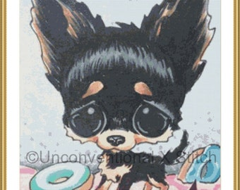 Black Chihuahua dog cross stitch pattern - Licensed Sugar Fueled