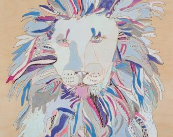Blue Lion Canvas Art Print by Jennifer Mercede