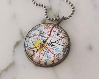 Waco Map Necklace - Custom Handmade Pendant - Charm Jewelry - Wanderlust - Travel - Texas Pride