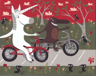 Unicorn and Platypus Ride Bikes Art Painting - Whimsical Funny Original Outsider Folk Artwork Canvas - Red n Green Crows Wall Decor Artwork