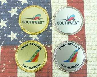 SOUTHWEST AIRLINES COIN | Pilot Captain First Officer Flight Attendant | Challenge | Retirement Promotion| Class Graduation | Customized