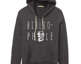 Bibliophile Hoodie Sweatshirt Alternative Apparel Kangaroo Pocket long sleeve sweater