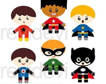 30% OFF SALE Superhero clipart, Superhero emotion boys digital clip art, commercial use clipart