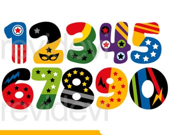 Numbers clipart, Superhero numbers clipart, digital commercial use clip art
