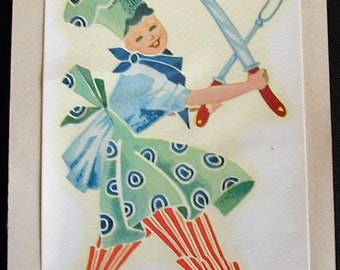 1940s Retro Kitchen DURO Decal Transfer Chef Carving Knife and Fork Crafts Scrapbooking Kitchenware