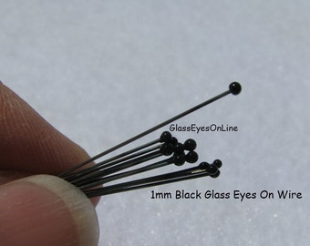 12 PAIRS 1mm German GLASS EYES on wire Solid Black for teddy bears, dolls, miniature projects, polymer clay sculpture, plush animals (201)