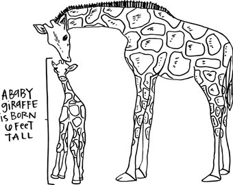Printable Coloring Book Lets Learn About Giraffes