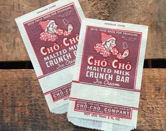 Vintage Ice Cream Glassine Paper Bags - Set of 2 - Cho Cho Company, Party Bags, Treat Bags, Ice Cream Advertising, Ice Cream Packaging
