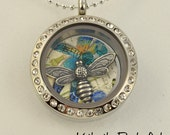 Memory Floating Charm Locket Necklace - Dragofly-Small