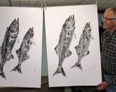 Atlantic Bluefish Original GYOTAKU Game Fish Art Rubbing Beach House Decor on Offset paper by Barry Singer