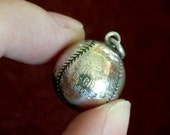 Vintage Silver Baseball Softball Charm - 1965 - Engraved - CHAMPS - Stamped Sterling