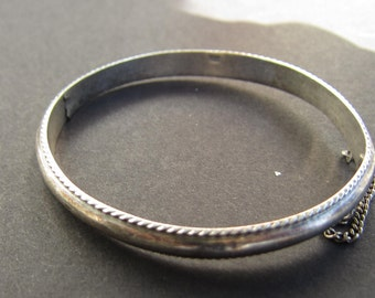 Sterling Silver Hinged Bangle Bracelet with Safety Chain