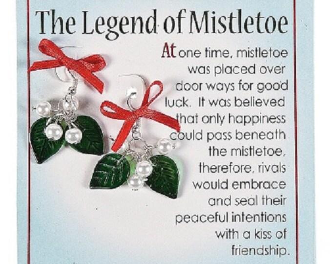 Mistletoe Earrings on Card