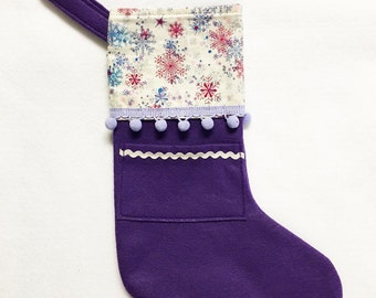 Felt Stocking, Pocket Stocking, Pocket Peeper - Silent Night, Purple Stocking