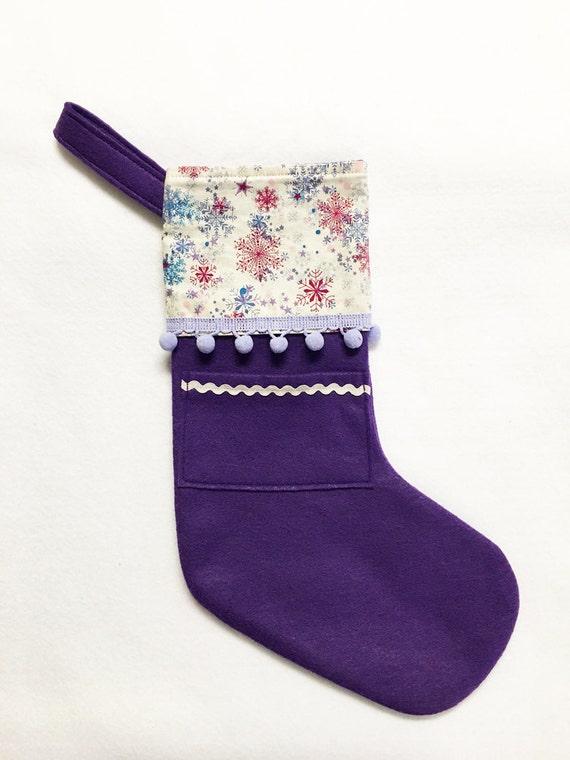 Felt Stocking, Pocket Stocking, Pocket Peeper - Silent Night, Purple Stocking