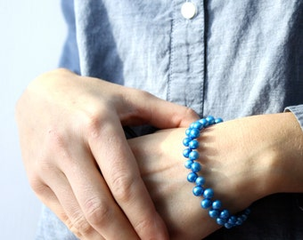 Balancing Beaded Bracelet . Bright Blue Pearl Bracelet . Metallic Blue Bracelet . Electric Blue Beaded Bracelet - Corsica Collection