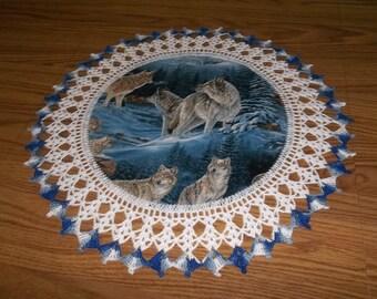 Doilies, Wolf Doily, Fabric Center, Crocheted Edge, Handmade, 18 Inches, Home Decor, Centerpiece