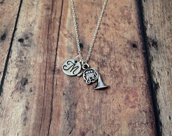 French horn initial necklace - music jewelry, gift for musician, french horn jewelry, instrument necklace, band jewelry, music teacher gift
