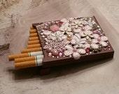 Vintage Pearl And Flower Rhinestone Cigarette Case