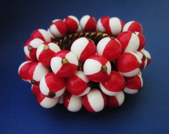 Vintage Red and White ChaCha Beaded Expansion Bracelet