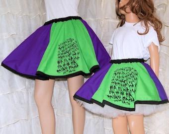 Joker Purple Green Ha Ha Ha Long Circle Skirt Child ALL Sizes - MTCoffinz