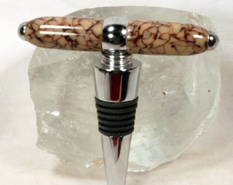 Handmade Coffee Colored Crackle Acrylic T Handle Corkscrew with Wine Stopper
