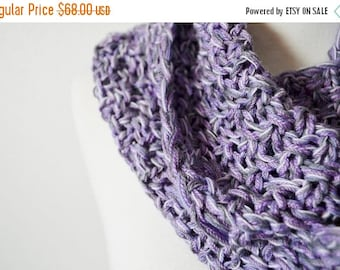 October Sale The Knitted Yoop Circle Scarf, Infinity Scarf, Cowl in Melancholy Orchid + Lavender, Hand Knit Textured Loop Scarf Awkward Spri