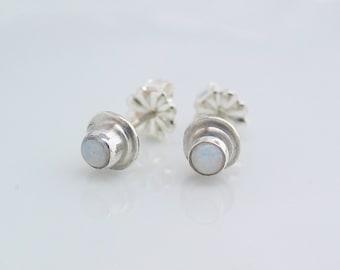 White Opal Studs, Sterling Silver Earrings, Australian Opal Post Earrings