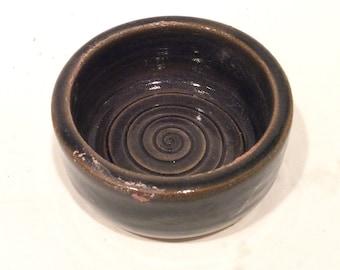 dark green handmade ceramic bowl-trinket dish-prep bowl-pottery - home and kitchen-in stock  B102, 103