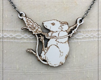 Field Mouse Pendant, engraved white variant