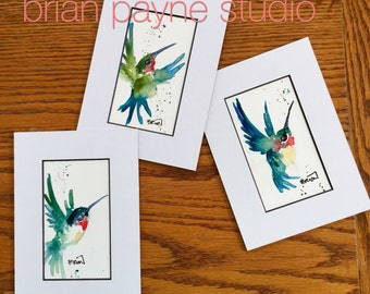 CUSTOM ORIGINAL-Lively Hummingbird Small Loose Impressionist Stylized Original-Made to Order-Watercolors on YUPO