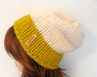 READY TO SHIP / Slouchy Chunky Knit Hat / Aspen / Citron and Fisherman