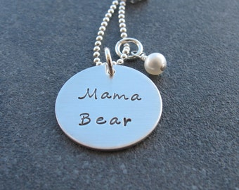 Mama Bear Hand Stamped Handmade Necklace Sterling Silver Created by Kristen's Custom Creations Ready to ship