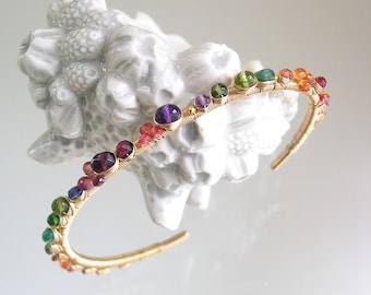 Multi Gemstone Wire Wrapped Gold Filled Cuff, Stackable Sapphire Bracelet