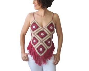 Cotton Bikini Top, Hippie Style Bustier With Fringe Red- Beige- Blue - Pink