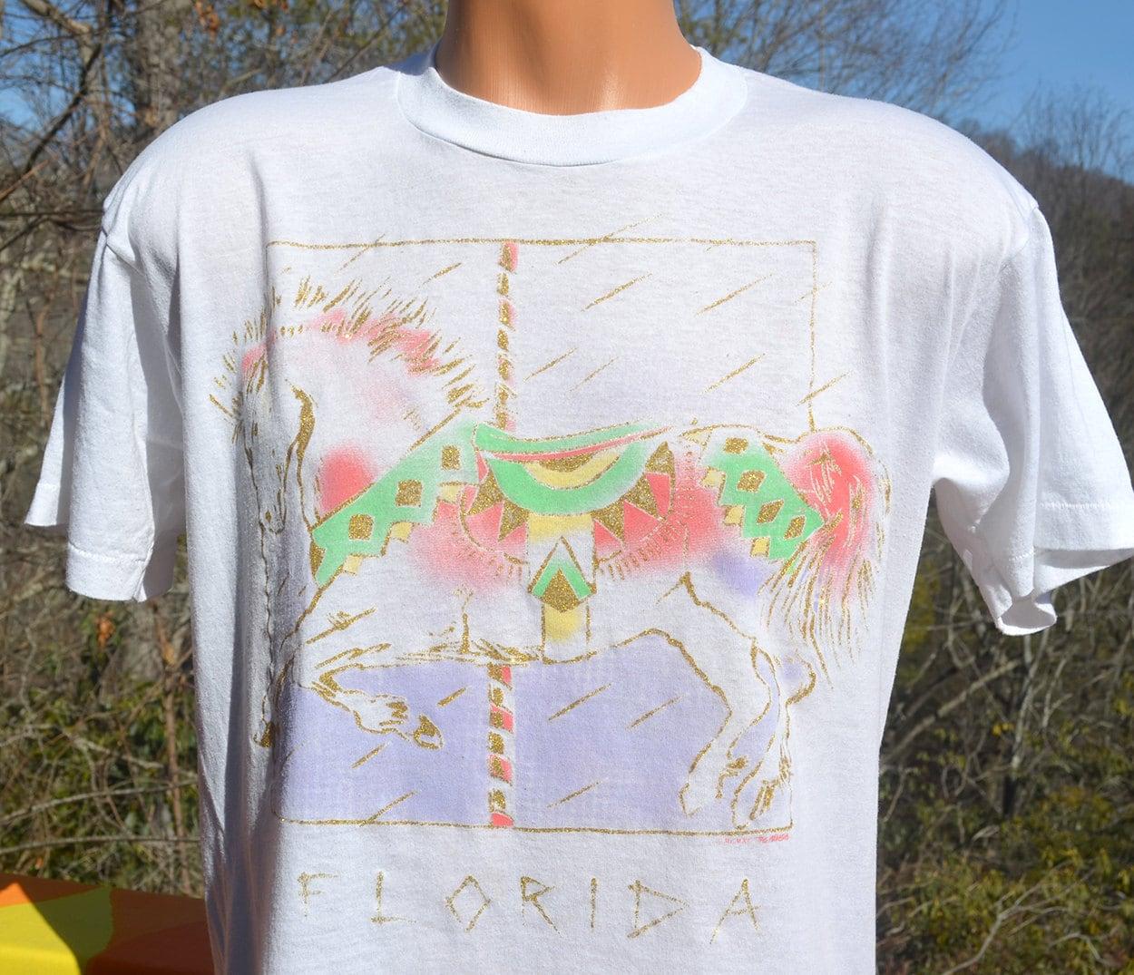 vintage 80s t-shirt HORSE glitter carousel florida soft thin
