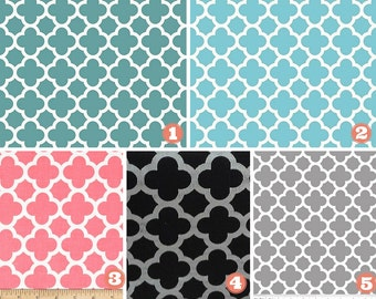 Designer Fabric Table Runner-Weddings-Showers-Bridal-Baby-Teal/Aqua/Coral/Black/Gray/Grey Quatrefoil-Popular Home Decor/Simple Home Decor