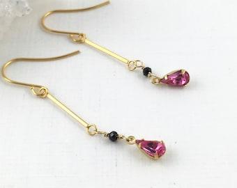 Pink Rhinestones, Dainty Gold Earrings, Multi Gemstone Earrings, Delicate Earrings Gold, Pink Dangle, Pink Drop, Minimalist Earrings