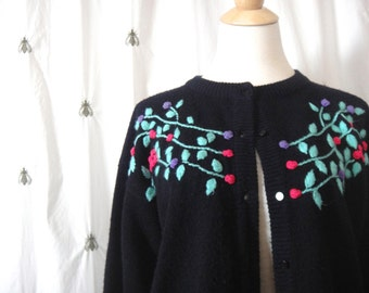 Sweet Vintage Embroidered Cardigan Knit Sweater, Size Large, Black with Pink, Turquoise, and Purple Flowers