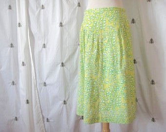 Vintage Lilly Pulitzer Skirt, Lily of the Valley Yellow Green White Floral Print, A Line, Knee Length, Linen, The Lilly, Medium, Large