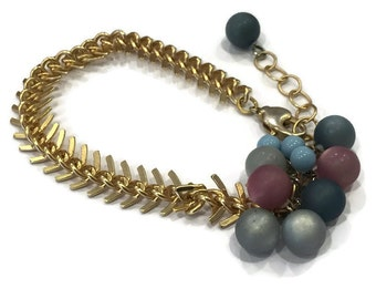 Direction Bracelet   Grey Blue Lilac Moonglow Clusters with Frosted Gold Arrow Chain   Leetie Lovendale Lucite