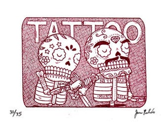 Tattoo Parlor Calaveras Limited Edition Gocco Screenprint Day of the Dead Art