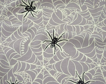 Caught in a Web in Grey from the Spooktacular collection by Maude Asbury for Blend Fabrics - Halloween fabric by the quarter yard