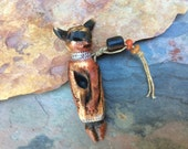 RESERVED SOLD FOR J. Hopi Katchina Inspired Carved Bead,Ivory,  Foxpaws, Artisan Handmade Ceramic Pendant