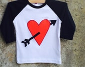 Valentine's Day Heart and Arrow Baseball Shirt for Boys or Girls - Sizes for Toddlers, Children, Kids - Great Photo Shoot or Party Outfit