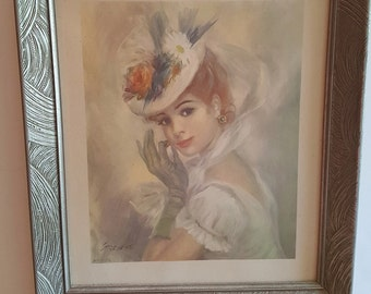 Vintage Print of Lady in Hat by Streven in Silver Painted Frame