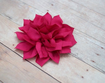 NEW Fuschia Mini Flower Hair Clip- Lotus Blossom - With or Without Rhinestone Center