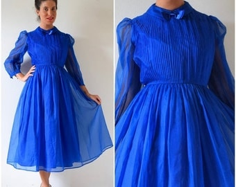 SUMMER SALE / 20% off Vintage 80s does 50s Royal Blue Silk Organza Tuxedo Pleated Bodice New Look Party Dress (size small, medium)