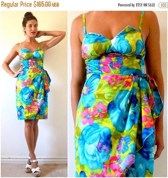 SUMMER SALE / 20% off Vintage 50s 60s Island Queen Day Glo Hawaiian Print Bullet Bra Sarong Wiggle Dress (size small, medium)