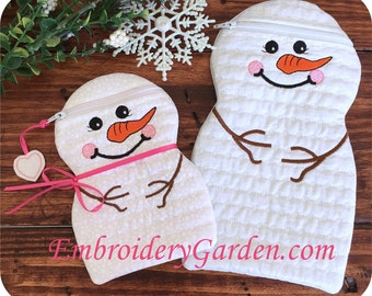In the Hoop Snowman Zipper Cases Machine Embroidery Design Files